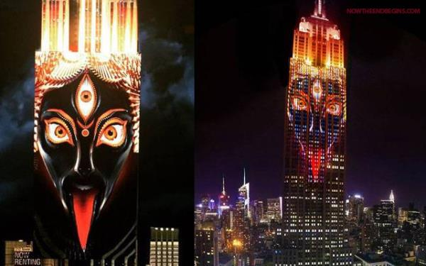 Hindu Goddess Kali Projected on Empire State Building